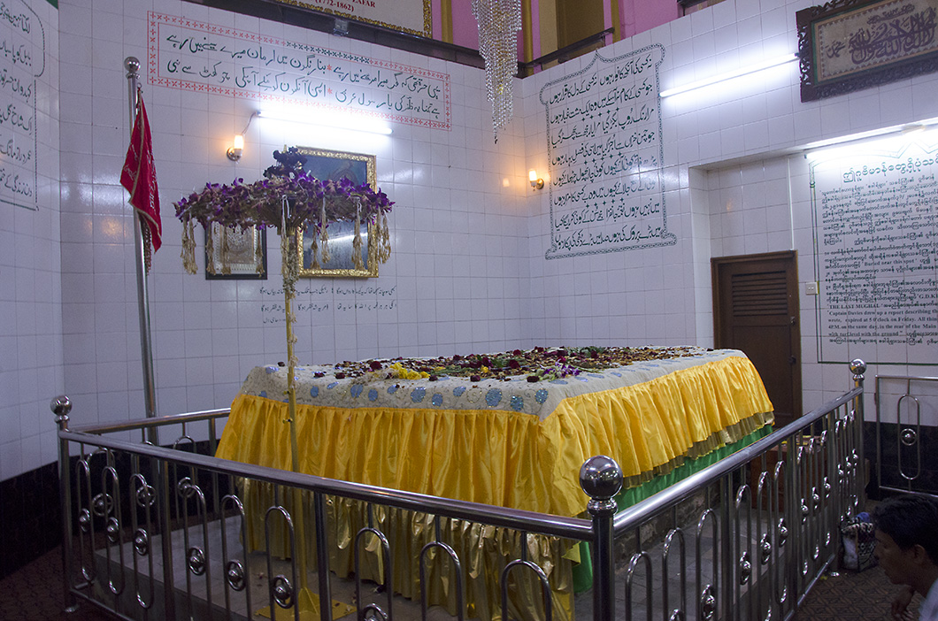 The sarcophagus of Bahadur Shah Zafar in the crypt beneath the Dargah