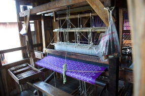 Gorgeous silk Ikat lyongi on the loom.