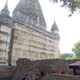 The 12th century Mahabodhi Temple, modeled after the ancient Mahabodhi temple in Bodhgaya, India.