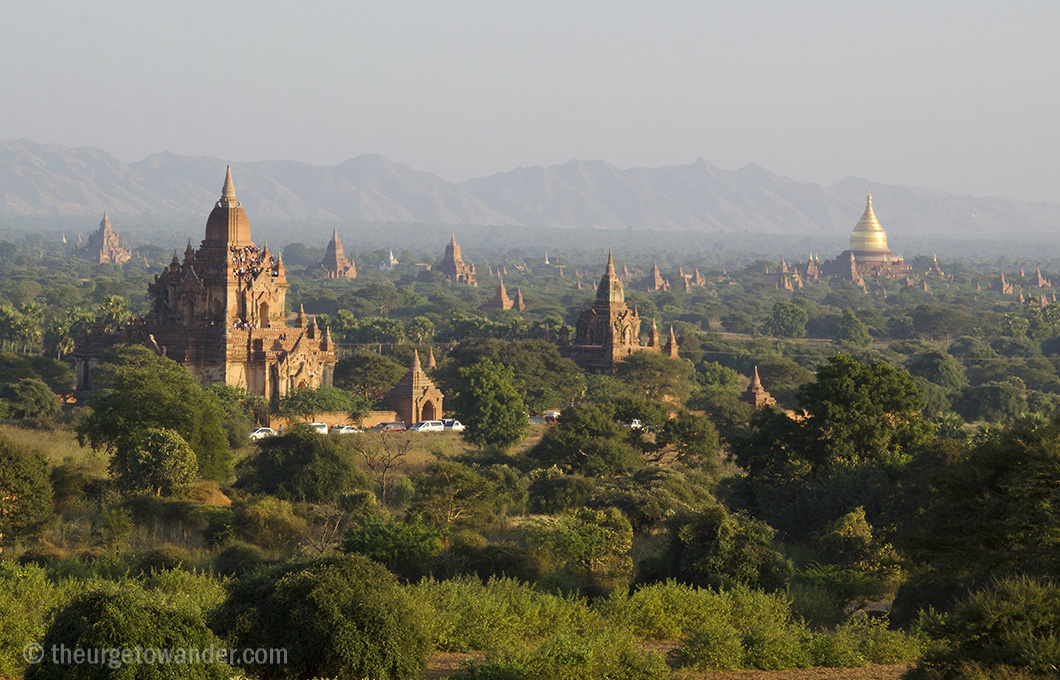 Golden hour over the Bagan stupas viewed from Shwesandaw Temple