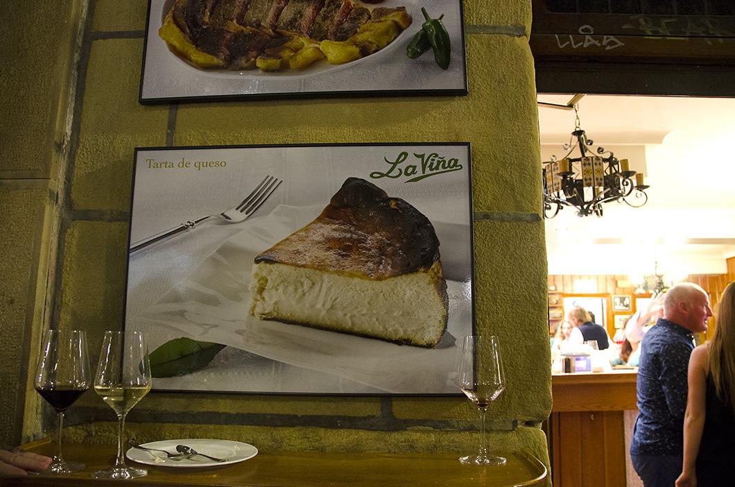 Poster of famed Basque cheesecake in La Vina- San Sebastian, Spain