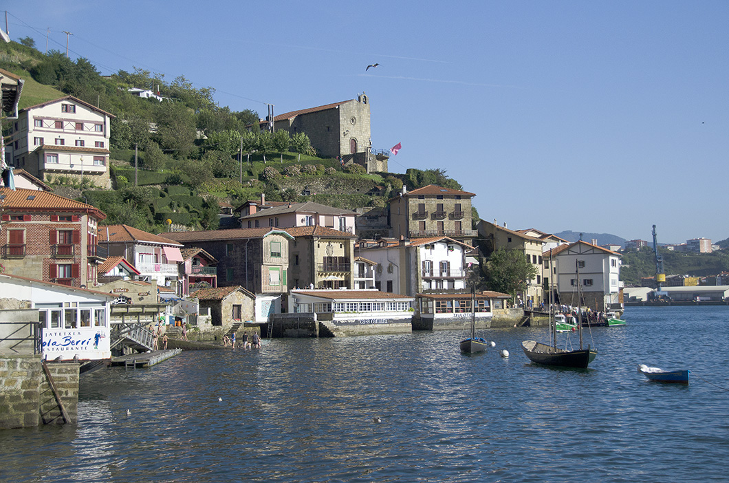 Approaching the town of Pasai San Juan (Donibane) from the water- Gipuzkoa, Spain