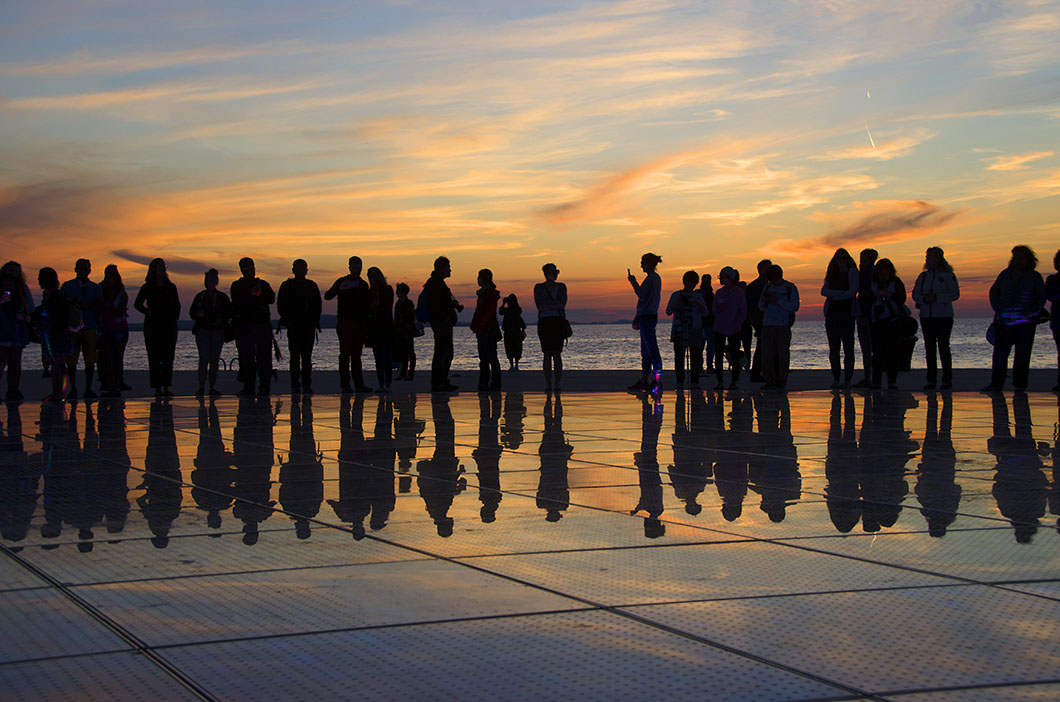 'Greetings to the Sun' installation on the Zadar waterfront at sunset - Zadar, Croatia