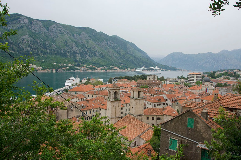 View of the bay over the rooftops of Kotor from halfway to St. John's fortress.