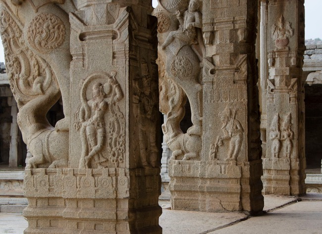 Ornate columns of the Vittala temple.