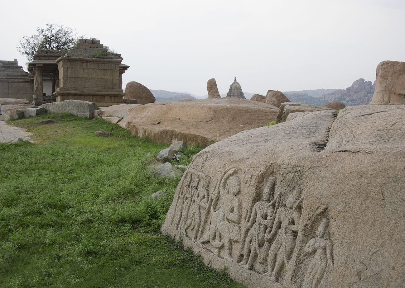 Carvings on Hemakuta hill, Hampi