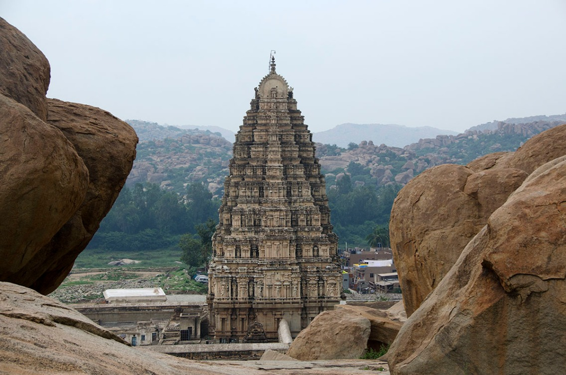 Virupaksha temple spire from Hemakuta hill.