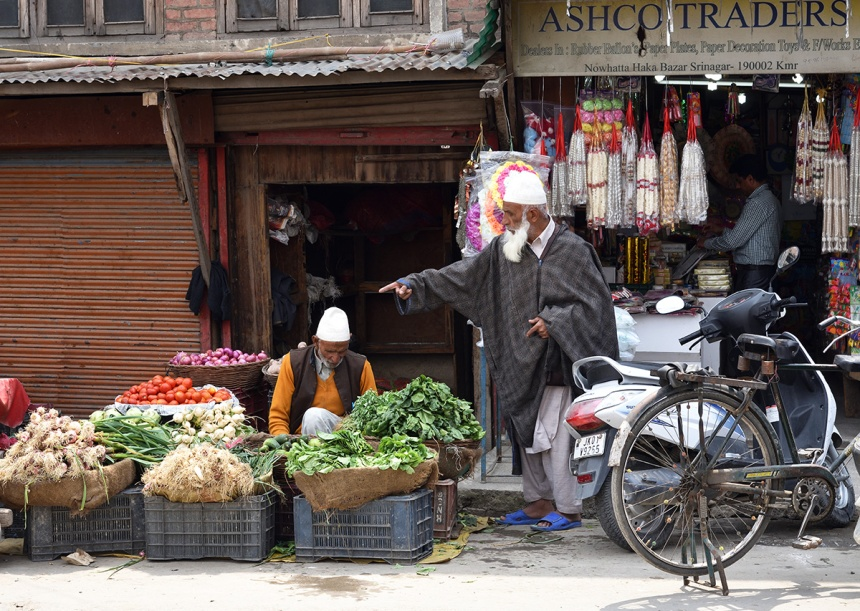 Vegetable vendor, Srinagar old town.