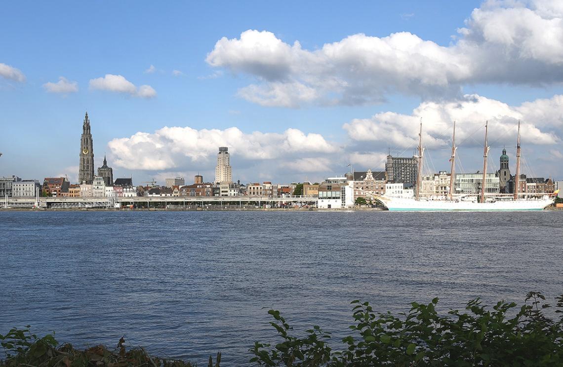 View of Antwerp from across the riverScheldt