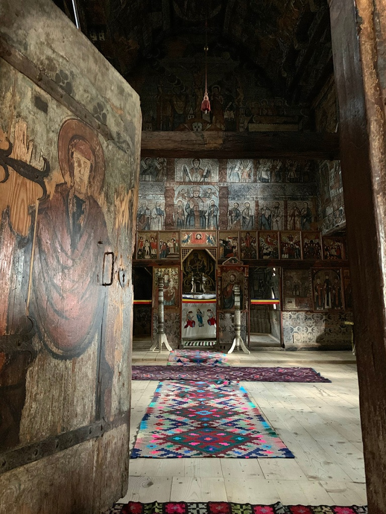 Typical paintings inside a Maramures wooden church.