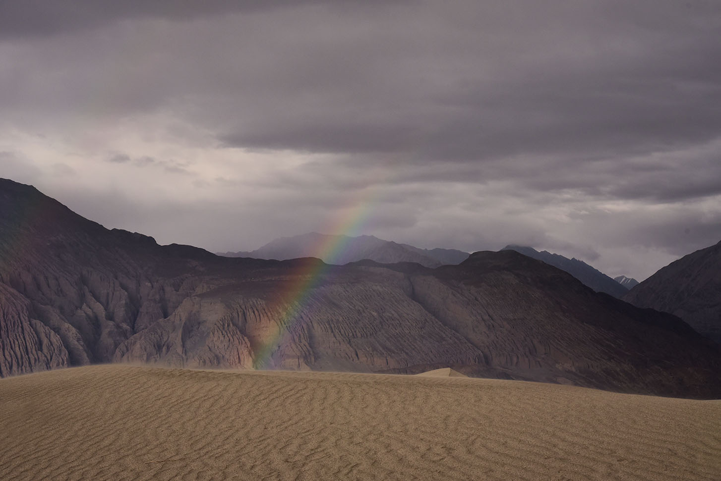 Rainbow in the high altitude desert of Nubra Valley, Ladakh