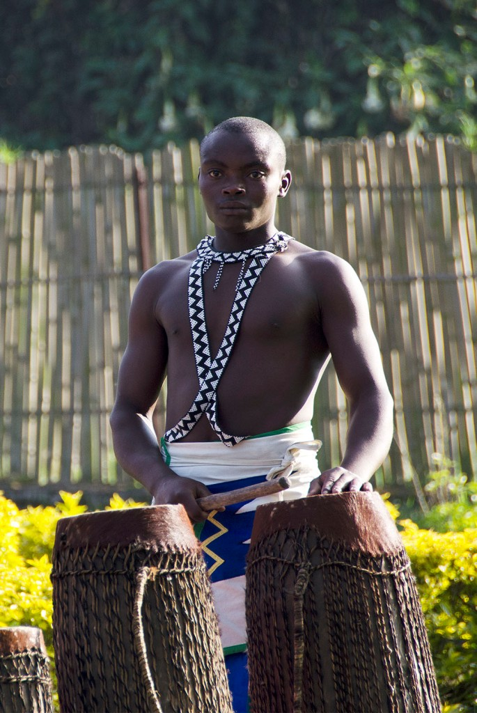Drummer of the Intore dance troupe in a pensive mood.
