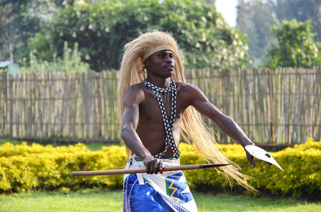 Intore dancer at the gorilla trek briefing centre in Kinigi.