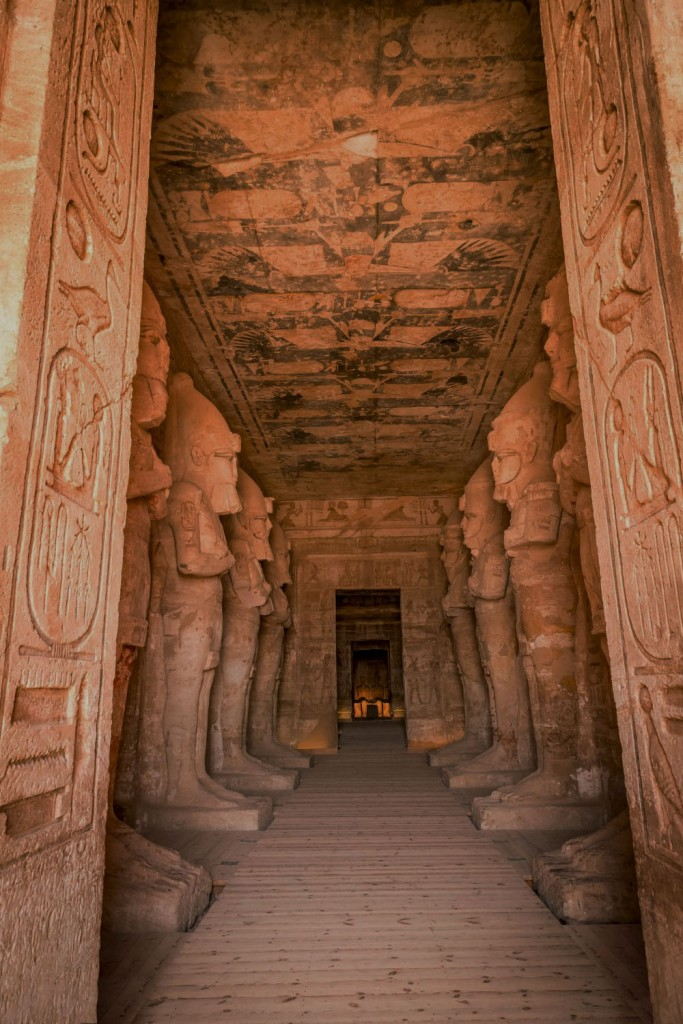 Abu Simbel Ramesses temple vestibule and view into sanctuary.