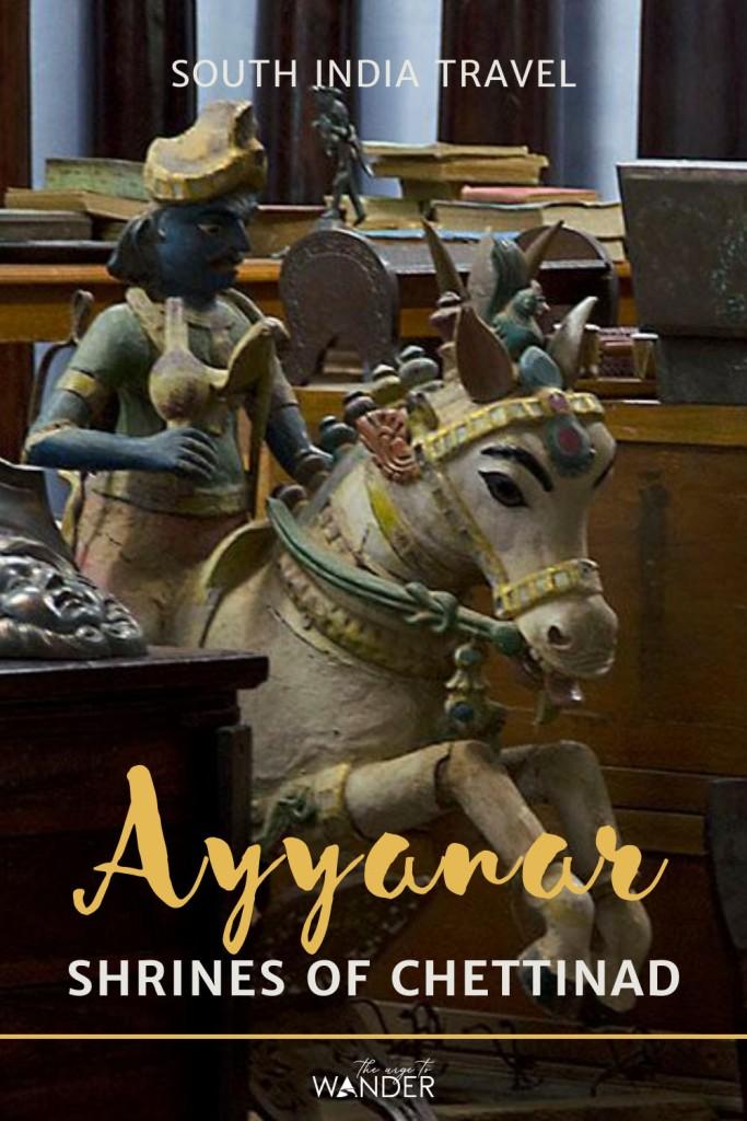 Wooden statue of Ayyanar astride a white horse in an antique shop in Karaikudi. Pinterest Pin