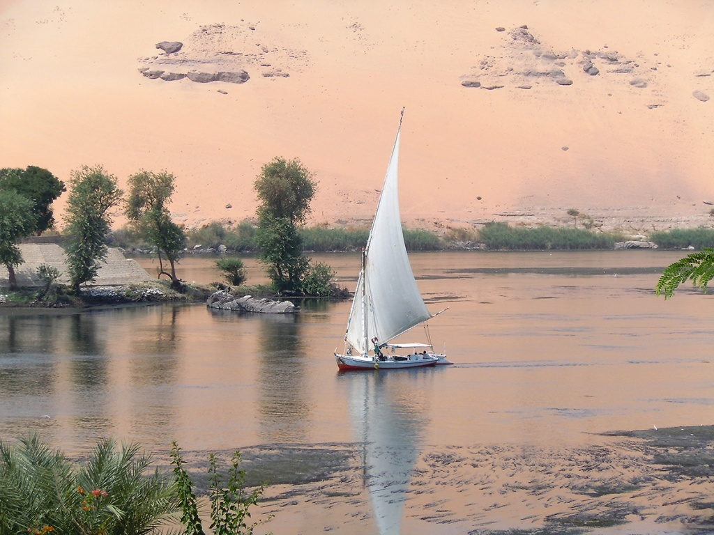 Felucca on the Nile at sunset in Aswan