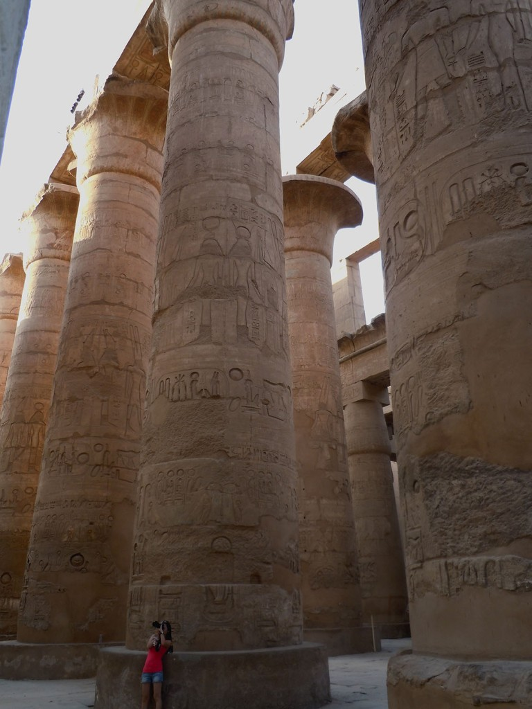 Forest of columns in the hypostyle hall of Karnak Temple, Luxor