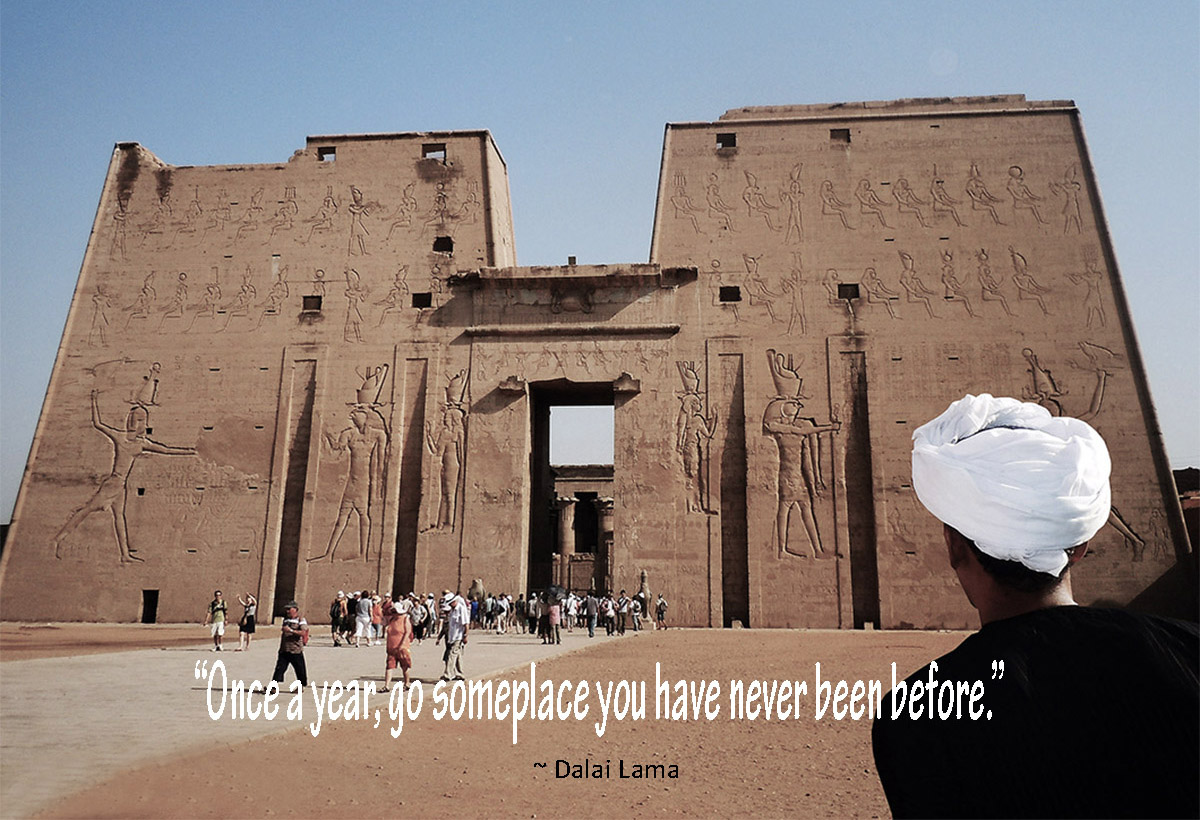 Looking for inspirational travel quotes? Here's a collection paired with my favourite travel photos sure to ignite wanderlust.  Image: Temple of Edfu, Egypt #travelquotes #adventure, #exploring #travelinspiration