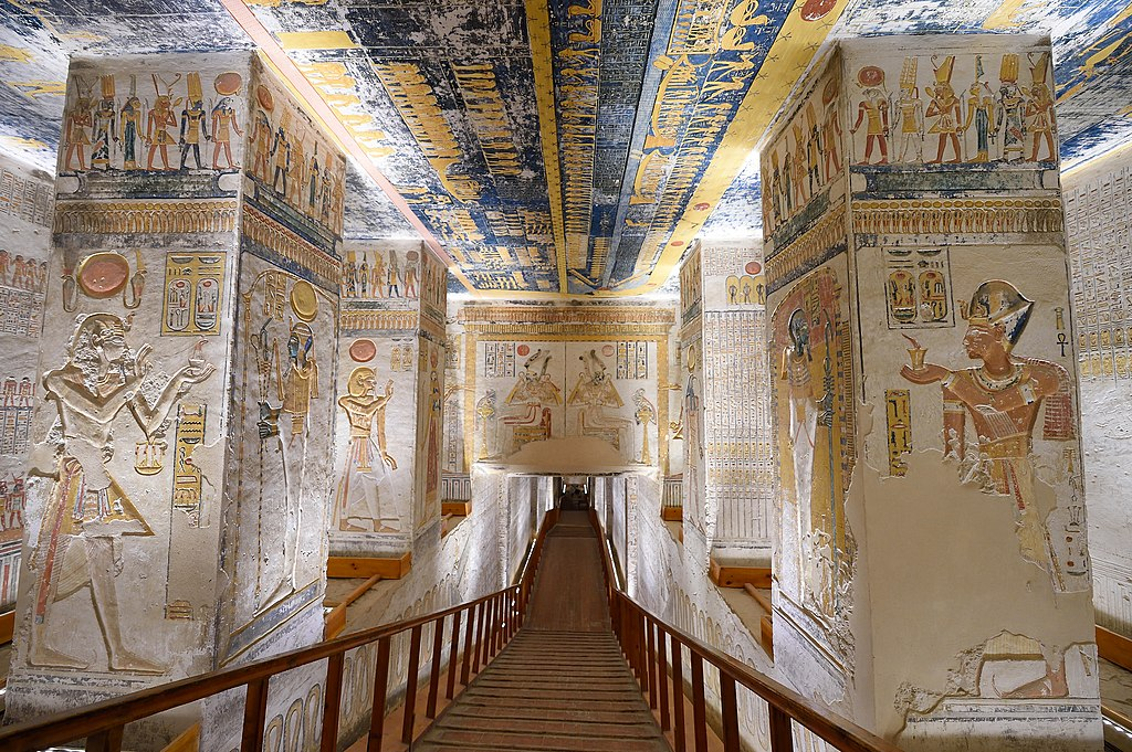 Painted reliefs inside the tomb of Ramesses V/VI in the West Bank of Luxor.