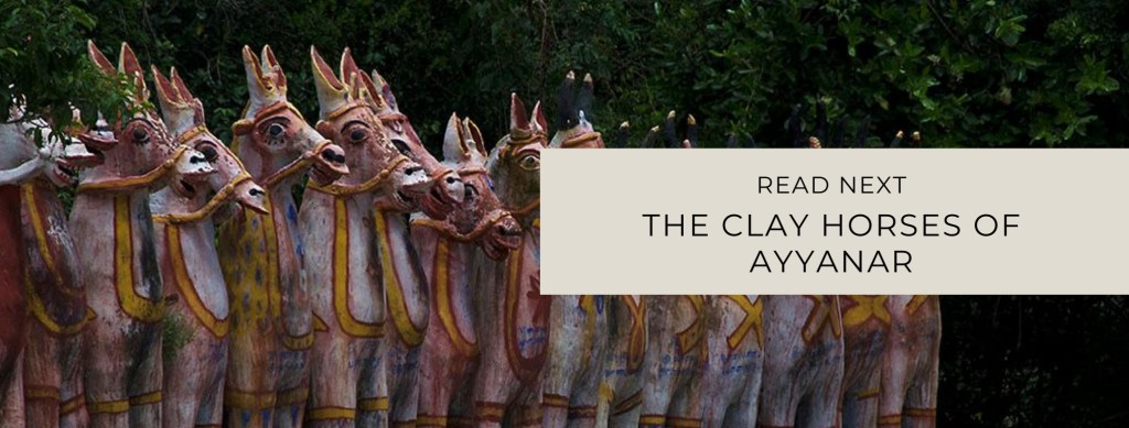 Row of clay horses in an Ayyanar Shrine. Image link to Horses Post.
