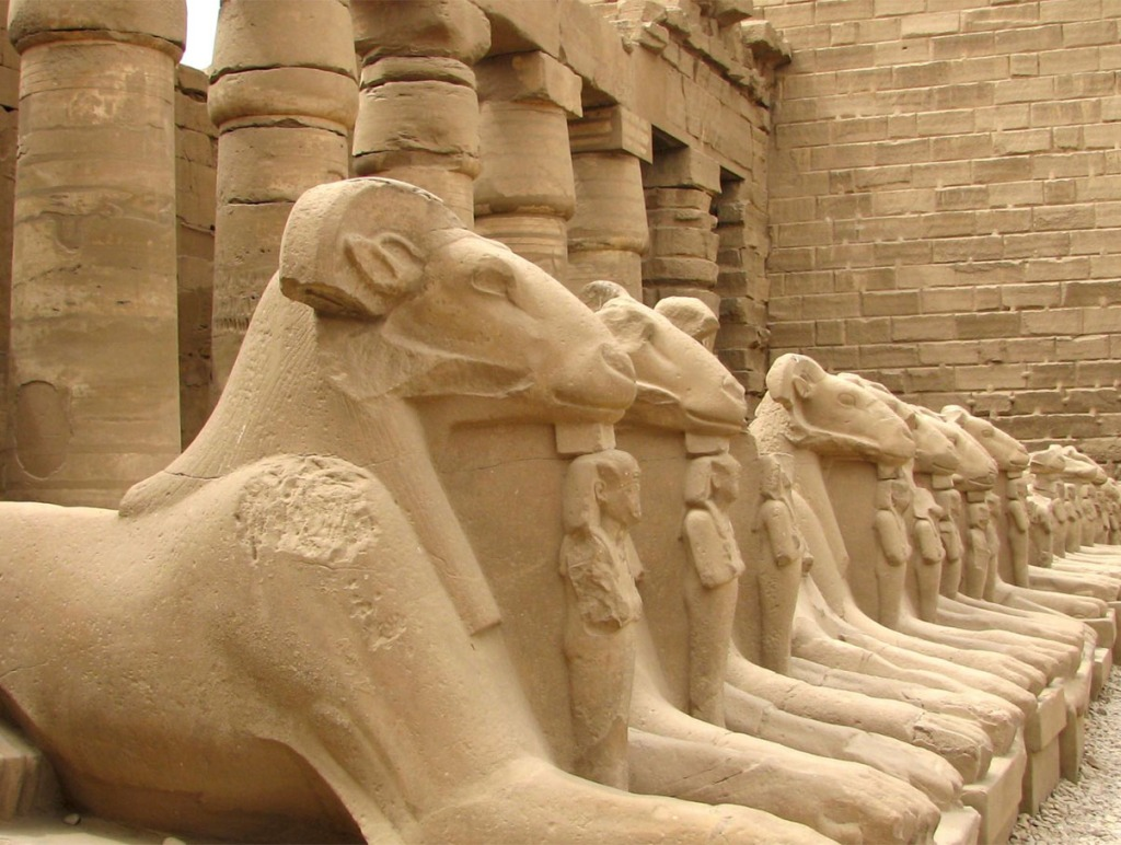 Row of ram-headed sphinxes in Luxor Temple, Egypt