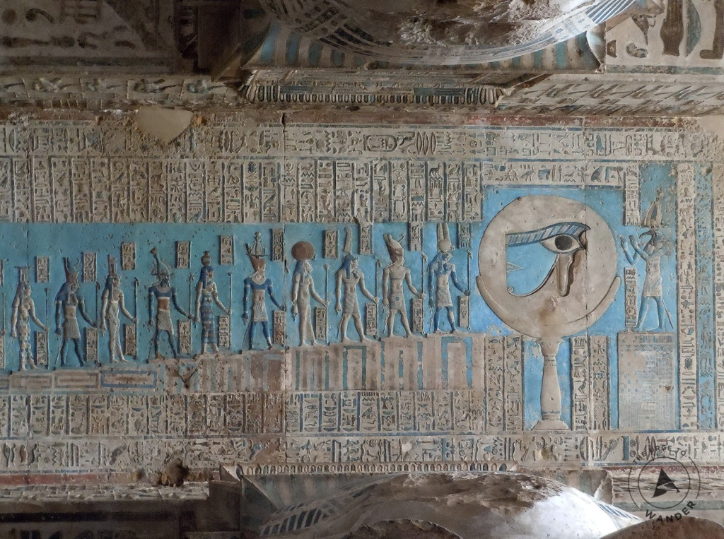 Part of the vivid turquoise ceiling panel illustrating a procession of deities adoring the 'Eye of Horus'!