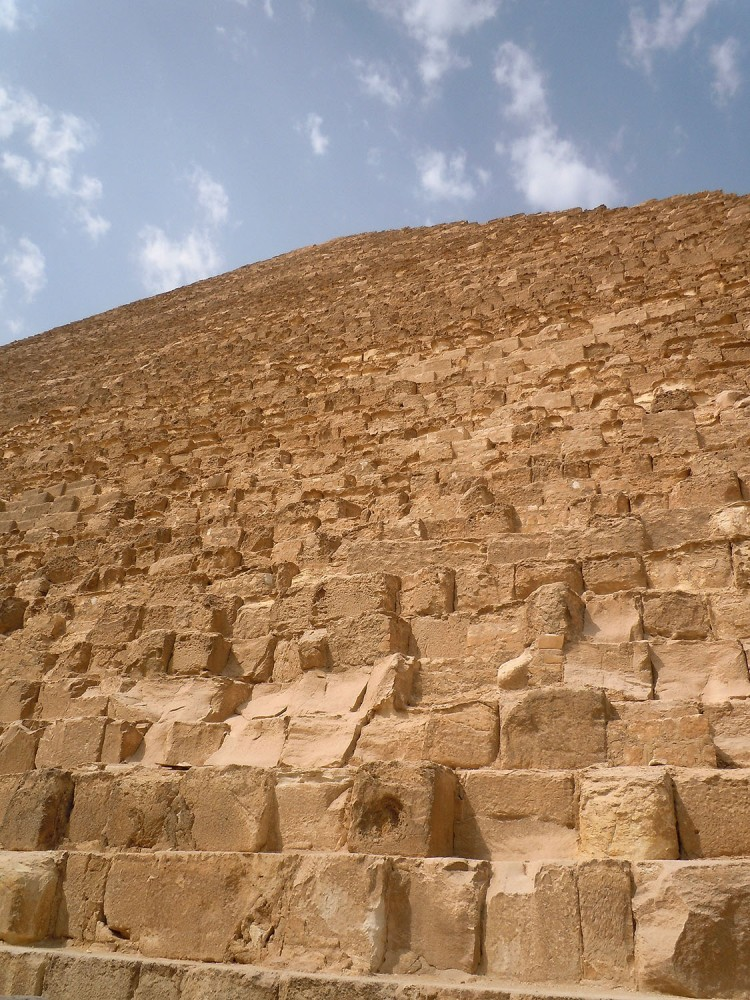 Looking up from the base of Pyramid of Khufu