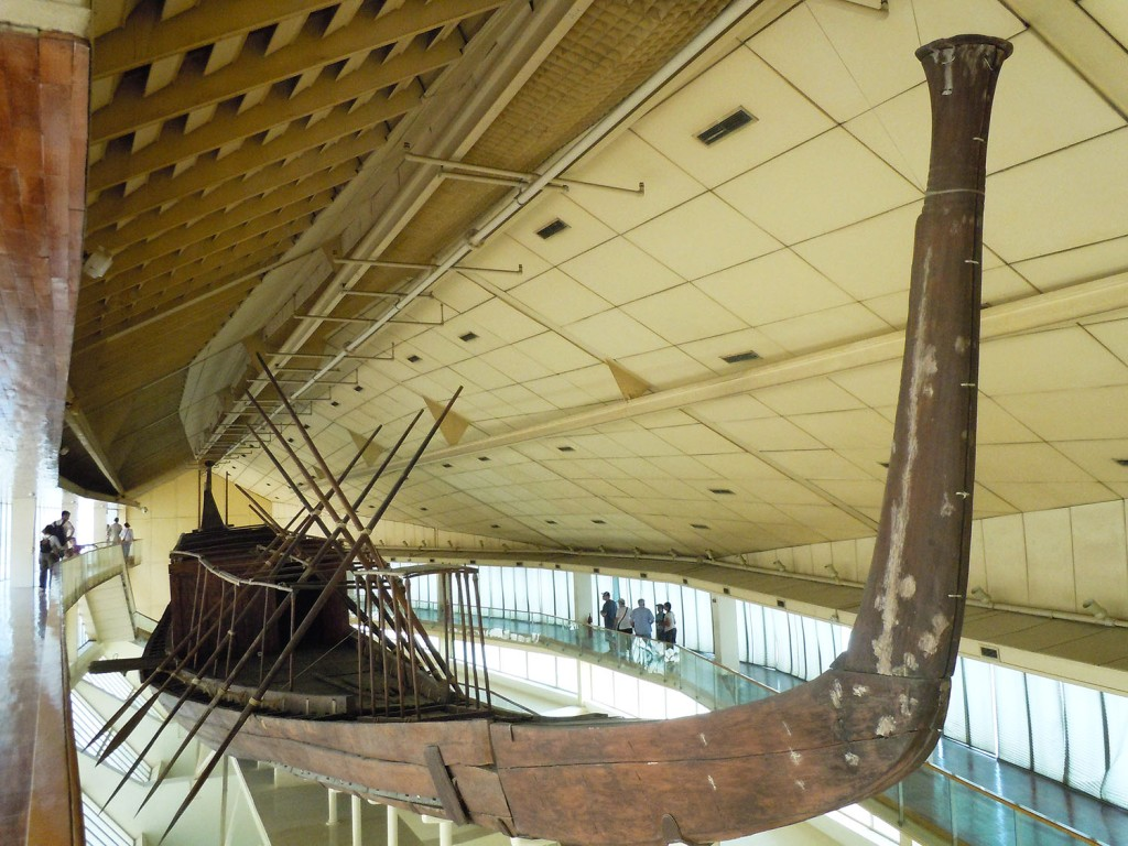 Khufu's solar boat in Giza, side view.
