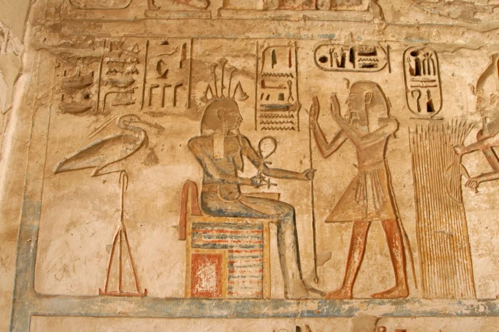 Wall relief of Ramesses III with Osiris in Medinet Habu