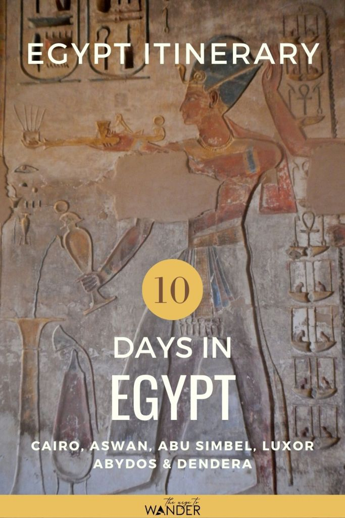 Detailed Egypt itinerary for an epic ten days through the best places to visit in Egypt: Crawl into the Great Pyramid, admire the Sphinx in Giza, explore Cairo, Aswan, Abu Simbel, Luxor, Abydos and Dendera like a pro. The Itinerary includes travel time, latest entrance fees and opening hours of monuments across Egypt and tips on how to get to them. Download a FREE copy!