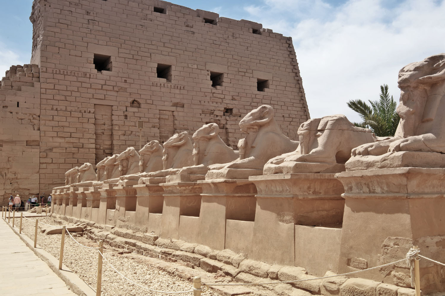 Way of sphinxes leading to the great unfinished pylon of Karnak temple.
