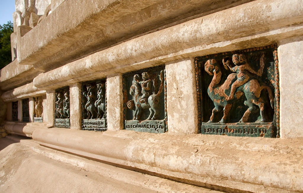 Glazed ceramic panels depicting stories from the Jataka Tales.in Ananda Temple, Bagan