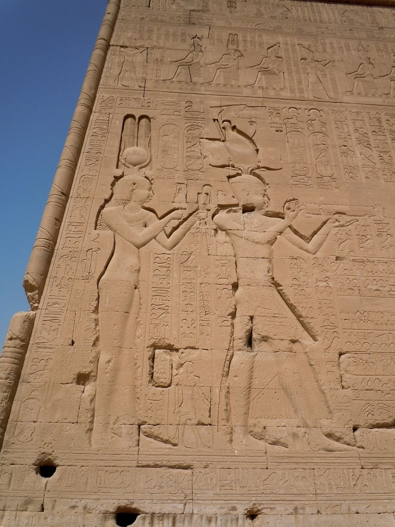 Sunk relief of Cleopatra VII and her son Caesarion on the external south wall of Dendera. Ceasarion is represented as Pharaoh Ptolemy XV Caesar.