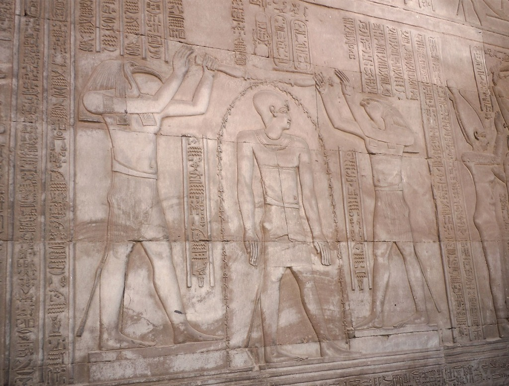 Kom Ombo wall relief of the gods Thoth and Horus blessing the Pharaoh
