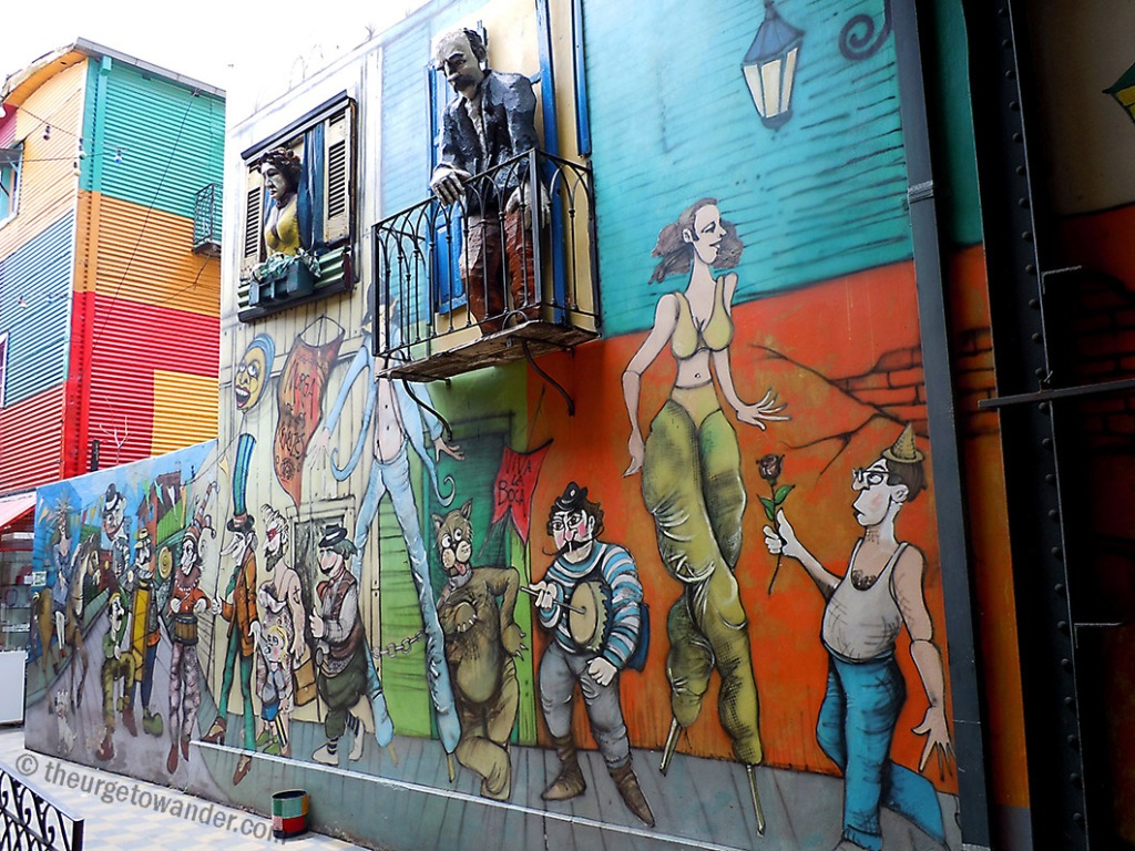 Colourful street art in La Boca, Buenos Aires