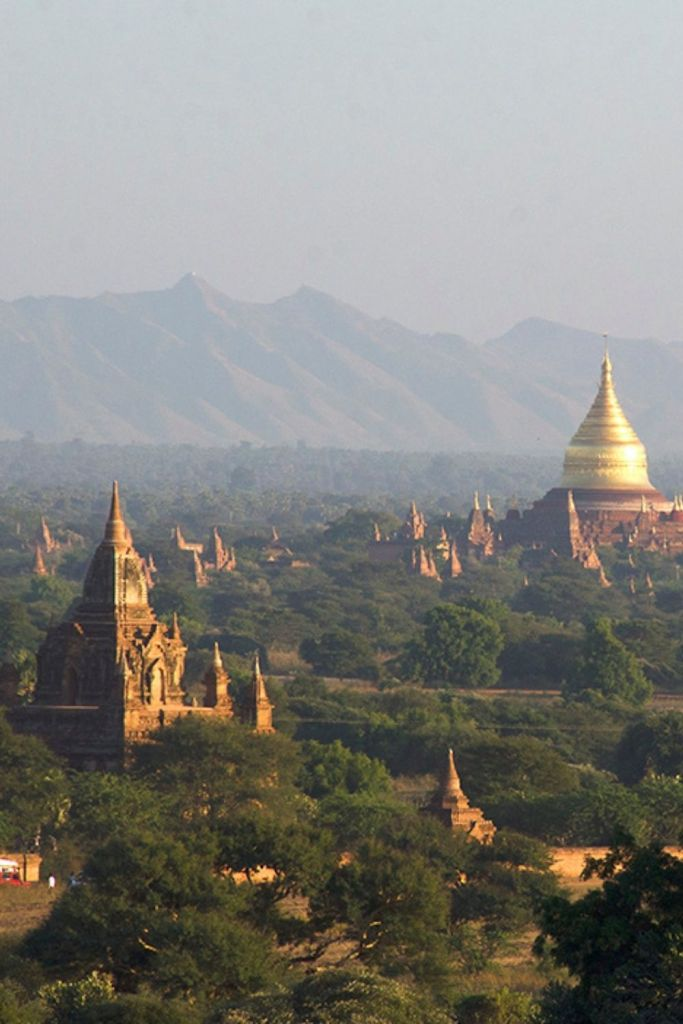 Panoramic view of pagodas in Bagan, Myanmar