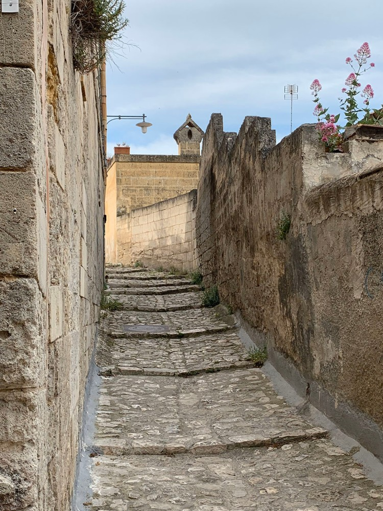 An alley with steps in Matera, Italy