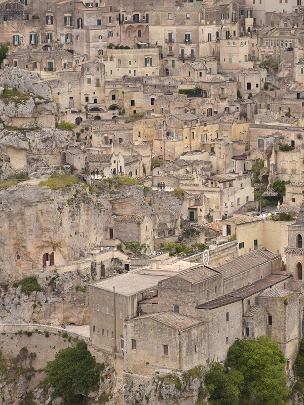 Close-up view of the Sassi of Matera from the belvedere Murgia Timone across the ravine.