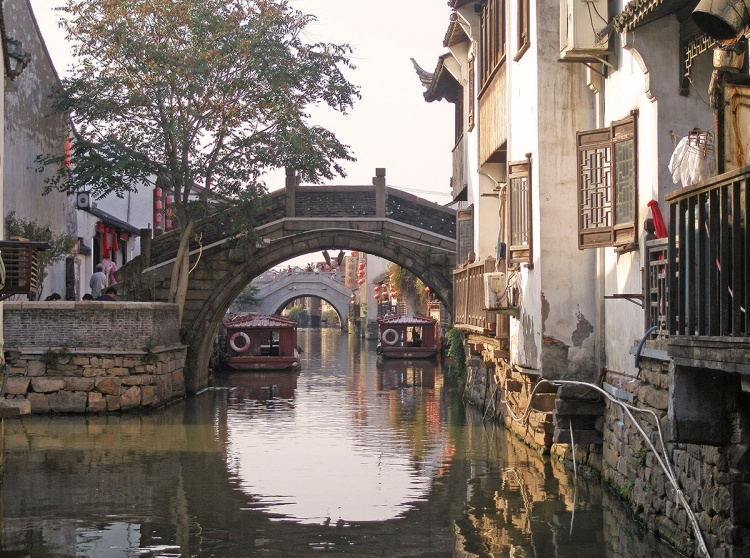 Series of bridges along a canal in Suzhou, China