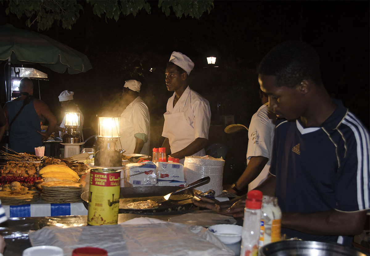 Evening food market at Forodhoni Gardens -Stone Town Travel Guide