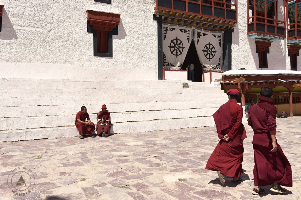 Hemis Monastery - Lamas of the Drupka order in the courtyard