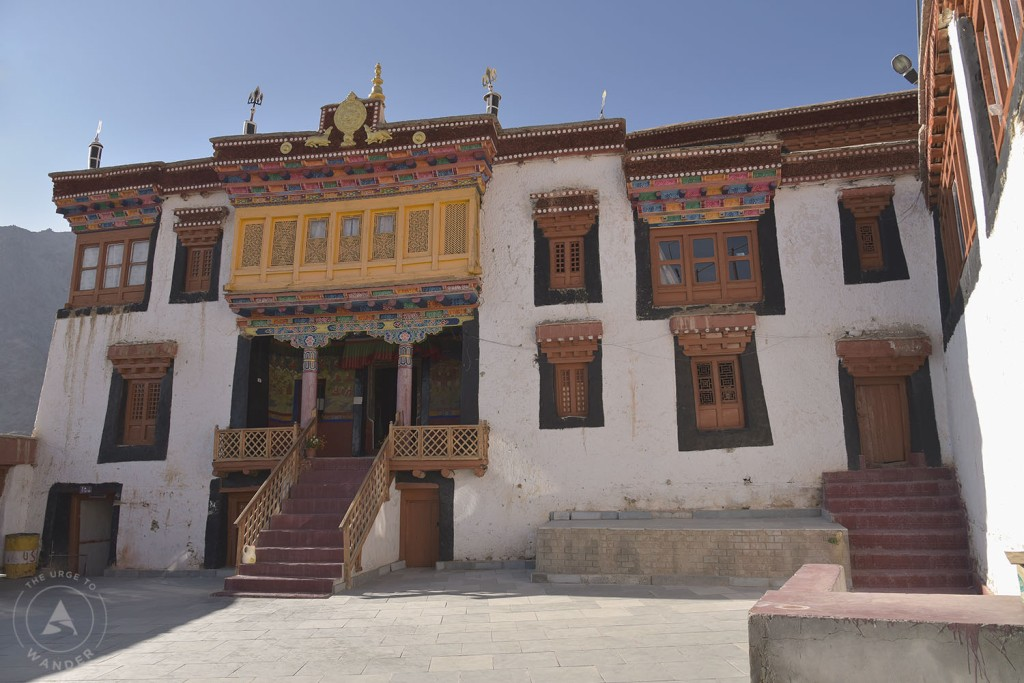 Main building of Likir monastery in typical Tibetan style.