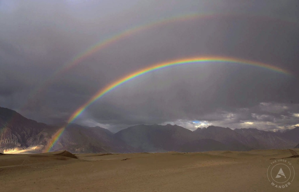 Double Rainbow over the sand dunes of Nubra Valley