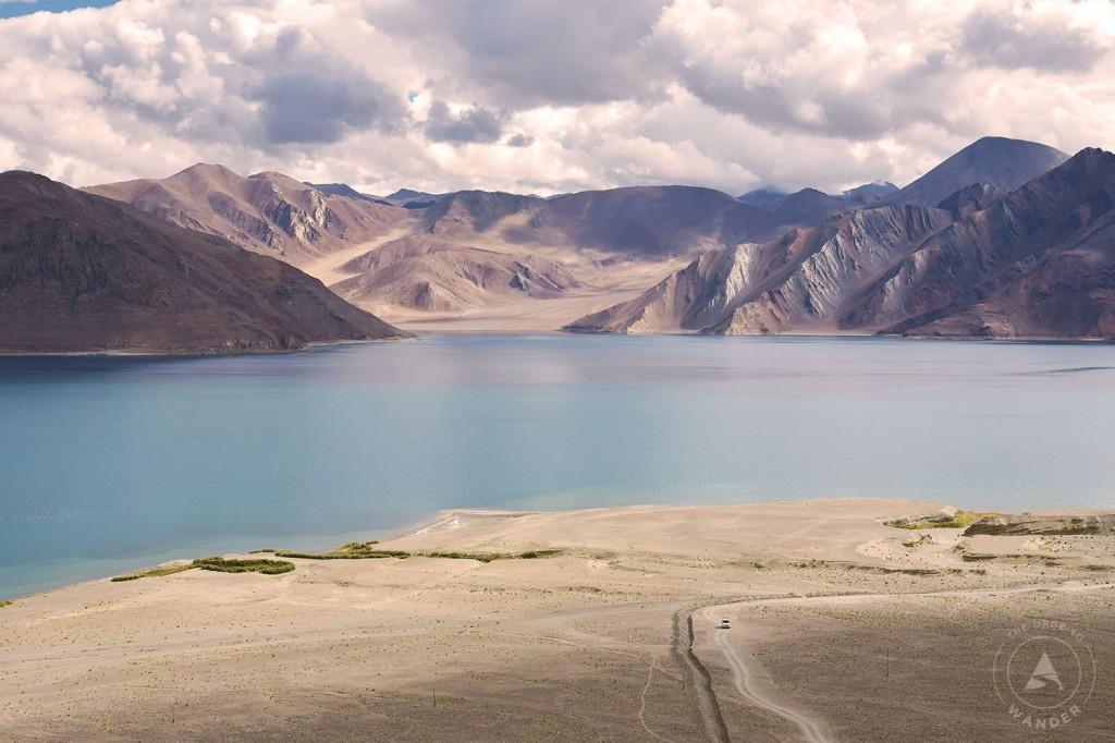 Pangong lake takes on aqua hues at midday