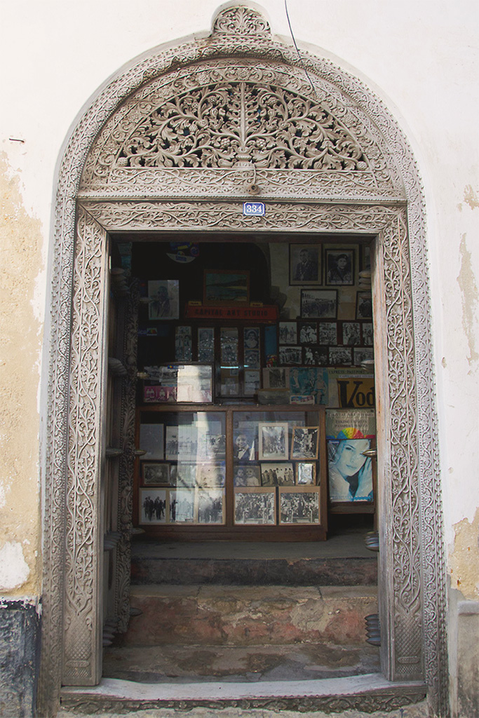 Carved doorway of the Capital Art Studio - Stone Town Travel Guide