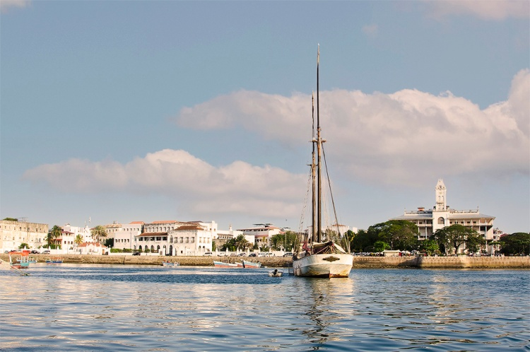 Zamzibar - View of waterfront landmarks from a boat.