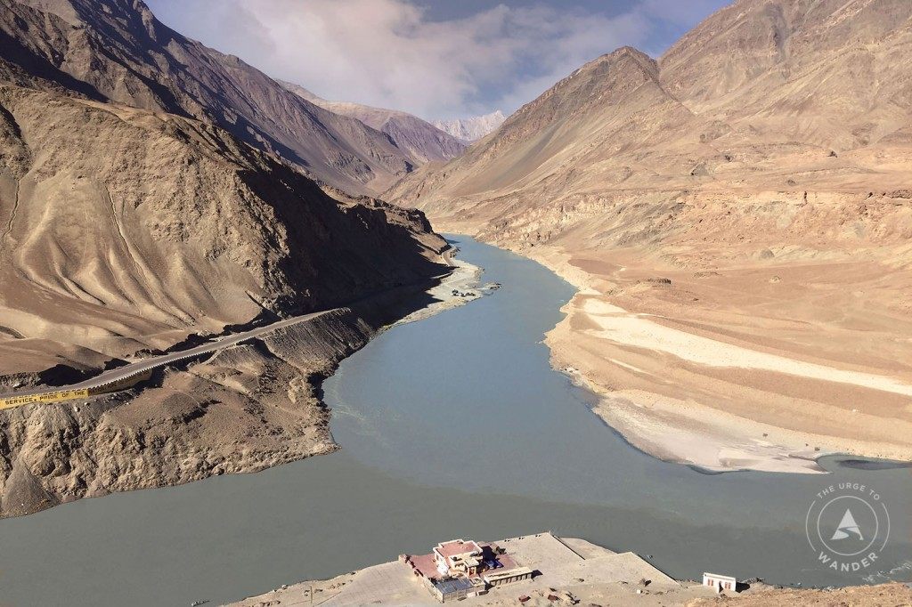 Distinct colour difference between the Zanskar and Indus rivers at the confluence point.