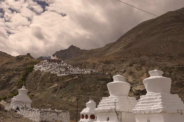 View of Diskit monastery from the road below