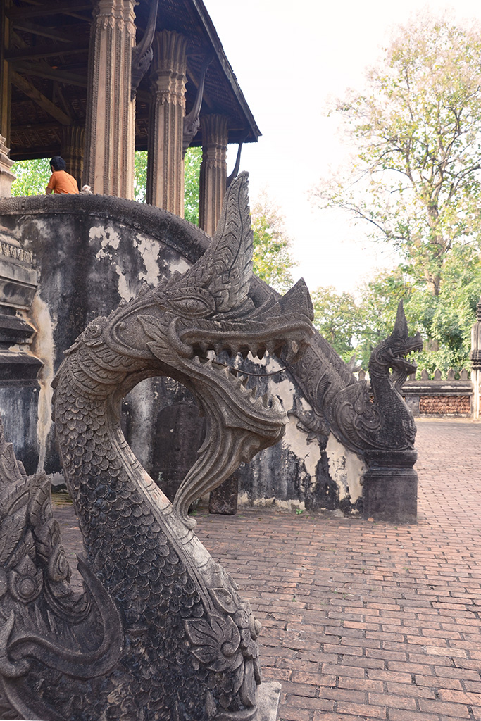 Naga (serpent/dragon) balustrades in Wat Haw Phra Kaew.