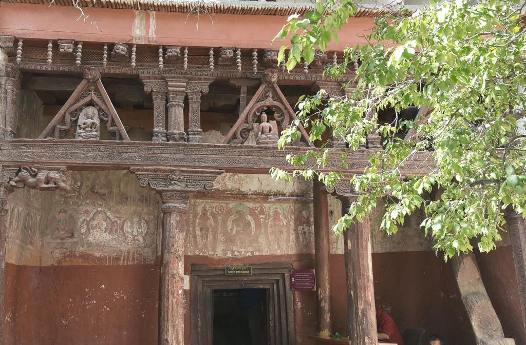 Decorative wooden facade of Alchi Monastery.